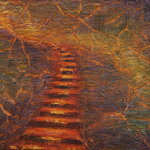 """Ascending Stairs, 9x12 (matted, fits 12""""x16"""" frames), $100"""