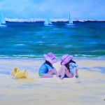 Pink Hats at the Beach, 16x12, oil, SOLD