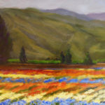 Santa Paula Flower Field, 12x9, oil on panel, $175